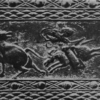 Рис. 6. Облицовочный кирпич с изображением сцены охоты. Эпоха Хань