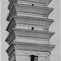 """Рис. 23. Бай-ма-сы (""""Башня белой лошади""""). Хэнань. Эпоха Тан"""