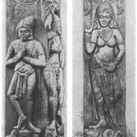 6. Бхархут. Столбы северного торана ступа (середина II в. до н. э.) Калькуттский музей