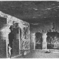 37. Элура. Вишнуитский и шиваитский храм Раванка-Кхай. Деталь (650 — 700 гг. н. э.)