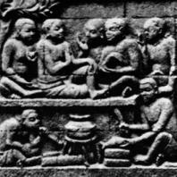 Боробудур. Рельеф заложенного основания с изображением трех сцен. Размер панели 67×200 см