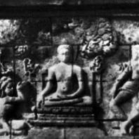 Боробудур. Искушение будды Шакьямуни дочерьми Мары. Рельеф первой галереи