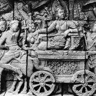Боробудур. Фрагмент сцены с Майей, едущей в парк Лумбини. Размер фрагмента 100×72 см