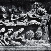 Боробудур. Омовение будды Шакьямуни. Рельеф первой галереи