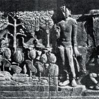 Боробудур. Шакьямуни, моющий свою одежду в реке. Рельеф первой галереи. Размер панели 275×80 см