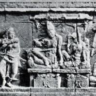 Боробудур. Сцена пира из истории о Судхане. Рельеф первой галереи. Размер панели 275×80 см