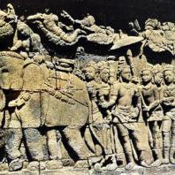 Боробудур. Судхана, отказывающийся сесть на слона. Рельеф второй галереи
