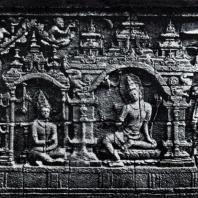 Боробудур. Беседа Судханы с Самантабхадрой. Рельеф третьей галереи