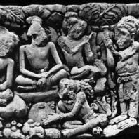 Сцена на сюжет «Рамаяны». Рельеф стены бассейна Джалатунда