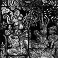 Хануман прощается с Ситой. Рельеф чанди Панатаран. 70×60 см. XIII-XIV вв.