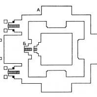 План главного чанди комплекса Панатаран: А – начало рельефов на сюжет «Рамаяны»; Б – начало рельефов на сюжет «Кришнаяны»