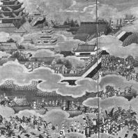 Неизвестный художник. Осада замка Осака летом 1614 г. Роспись ширмы. Деталь. Первая половина XVII в. Музей замка, Осака