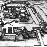 """Замок Осака. Иллюстрация из книги А. Монтануса """"Описание Японии"""". XVII в."""