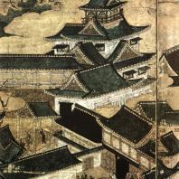 Неизвестный художник. Дворец Дзюраку-дай. Роспись ширмы. Деталь. Коллекция Мицуи. Токио