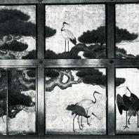 Ватанабэ Рёкэй. Сосны и журавли. Настенная роспись. Начало XVII в. Нисихонгандзи, Киото