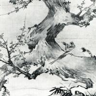 Кано Эйтоку. Пейзаж с цветами и птицами. Настенная роспись. Деталь. 1566. Дзюко-ин, Дайтокудзи. Киото