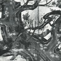 Кано Эйтоку. Кипарис. Роспись ширмы. Деталь. Конец XVI в. Национальный музей, Токио