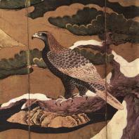 Кано Эйтоку (приписывается). Ястреб на сосне. Роспись ширмы. Деталь. Конец XVI в. Университет искусств, Токио