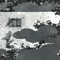 Кано Санраку (приписывается). Изгородь и вьюнки. Настенная роспись. Деталь. 1631. Тэнкю-ин, Мёсиндзи, Киото