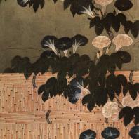 Кано Санраку (приписывается). Изгородь и вьюнки. Настенная роспись. Деталь