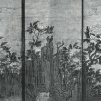 Кано Санраку. Пионы. Настенная роспись. Деталь. Начало XVII в. Дайкакудзи, Киото