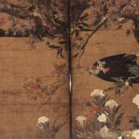 Хасэгава Тохаку. Клен. Настенная роспись. Деталь. 1592. Тисякуин, Киото