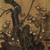 Кайхо Юсё. Цветущее дерево сливы. Роспись ширмы. Деталь. Начало XVII в. Мёсиндзи, Киото