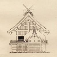 2. Схематическое изображение большого синтоистского храма в Идзумо