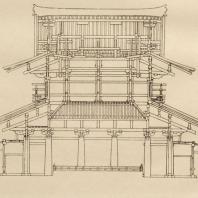 7. Золотой храм Хориудзи близ Нара. Разрез. VII в.