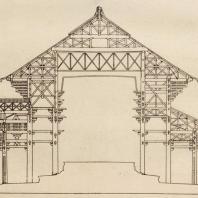 20. Золотой храм Тодайдзи. Разрез. VIII в. (Перестроен около 1700 г.)