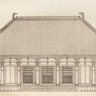 26. Кондо (Золотой павильон) храма Тосёдайдзи близ Нара. Чертеж. VIII в.