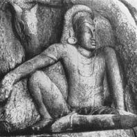 38. Мудрец Капила с лошадью. Рельеф в Исурумуниявихаре. Ок. VII в.