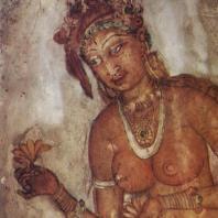 62. Роспись Сигирии. Знатная дама с цветком в руках. V в.
