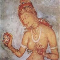 65. Роспись Сигирии. Знатная дама, бросающая цветок. V в.