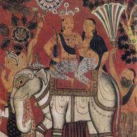 73. Царь Такшашилы на слоне с якшини. Роспись Пахалавихары в Мулгиригале. XIX в.