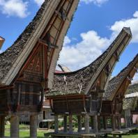 Индонезия, Южный Сулавеси, традиционный жилой дом tongkonan