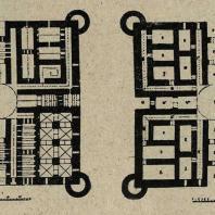 Таджикистан. Термез. Планы руин Кырк-кыз (до-монгольскан эпоха). Слева — I этаж. Справа — II этаж по коридорам и план сводов.
